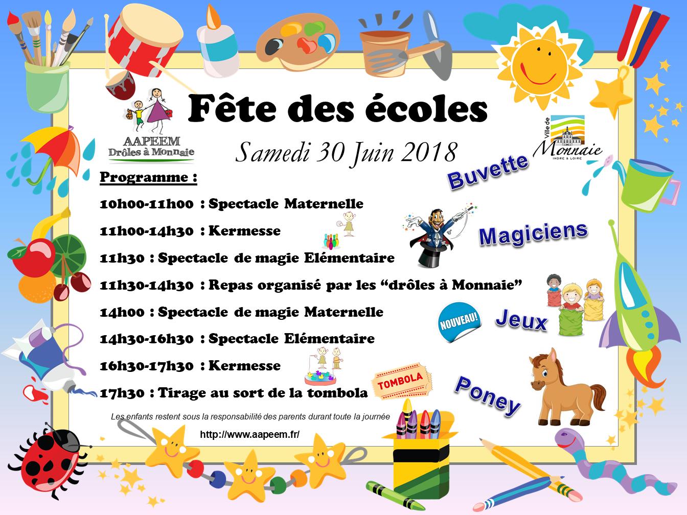 Affiche fete des ecoles 2018